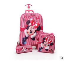 Kids Rolling Bag 3D stereo girl's Boy's trolley case Cartoon Children Travel suitcase Lunch bag Kid's Trolley Bags with wheels