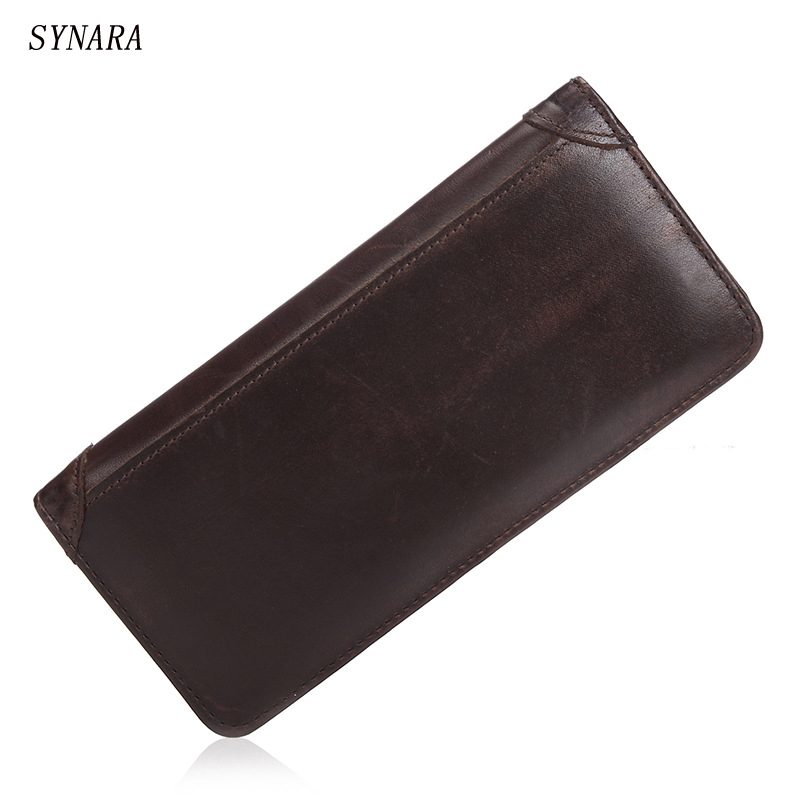 New Arrival Genuine Leather Long Slim Mens Wallets Brown Long Design Multifunctional Cow leather Purses<br><br>Aliexpress