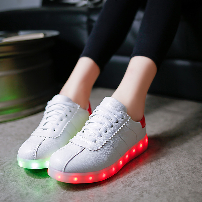 2017 New Fashion led lights usb charging shoes women sport casual shining luminous shoes with lights for adults <br><br>Aliexpress