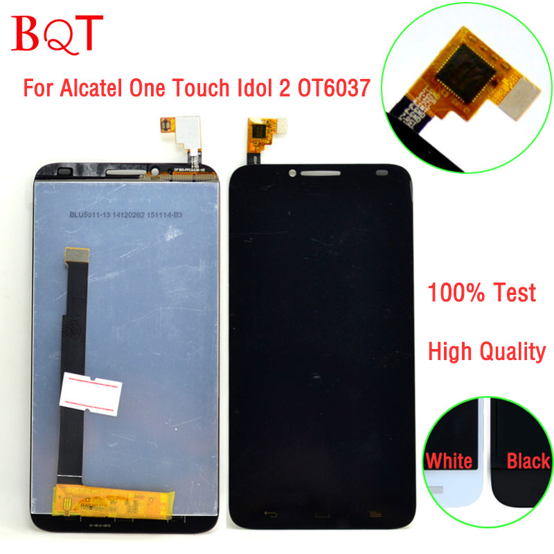 100% Test OT6037 LCD For Alcatel One Touch Idol 2 OT6037 6037 6037Y LCD Display Touch Screen With Digitizer Assembly<br><br>Aliexpress