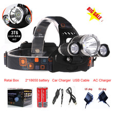 10pcs/lot bicycle light 3T6 3 X C-XML T6 LED Headlamp Headlight 5000 Lumens bike light+AC/car charger+18650 battery(China)