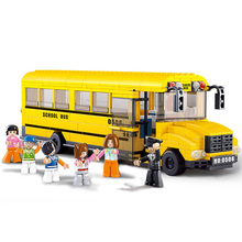 382pcs School Bus Car Building Blocks Assembled Bricks Children's Educational Kids Toys Cement Truck Model Figure City Series(China)