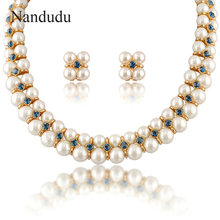 Nandudu 2 layers Faux Pearls Necklace Earrings Crystal Jewelry Set Fashion Women Girl Female Jewelry Gift N759(China)