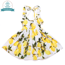 Toddler Girls Dress 2017 Summer Beach Style sleeveless Princess Party and Wedding Costume Lemon Printed Kids Dresses for Girl