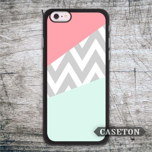 Coral and Mint Chevron Block Case For iPhone 7 6 6s Plus 5 5s SE 5c and For iPod 5 High Quality Lovely Phone Cover