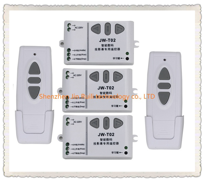 220V wireless projection screen remote control switch projection curtain remote control switch 3* Receiver +2*Transmitter<br>