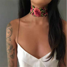 High Quality Elegant Embroidery Flowers Choker Necklace Luxurious Chain Necklace Accessories Club Party Necklace for Women