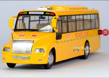 1:32 1pc 23cm delicacy Big Nose school bus acousto-optic mini alloy car pull back model decoration boy children baby toy Gift(China)