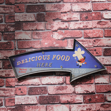 Retro Delicious Food Eat Here Led Neon Sign For Pub Club Restaurant Buffet Wall Decor Hanging All You Can Eat Light Metal Plate(China)