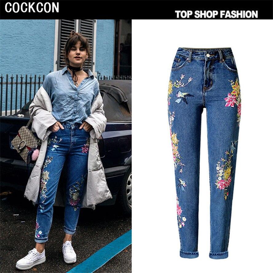 COCKCON Women Embroidery Retro Flower Women Jeans Pants Spring Autumn High Wait Denim Pants Casual Daily Pantalones Femme TOP225Îäåæäà è àêñåññóàðû<br><br>