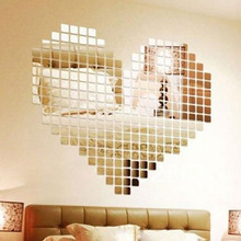100 Piece Self-adhesive Tile 3D Mirror Wall Stickers Decal Mosaic Room Decorations Modern Self-adhesive Mirror Tiles Stickers(China)