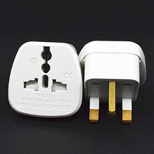 Universal white 10A 250V CE certified charging converter AU EU US to UK travel plug adaptor with security door