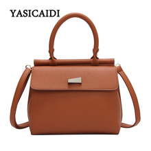 Fashion PU Leather Top-handle Women Handbag Solid Ladies Lether Messenger Bag Casual Large Capacity Tote Crossbody Bags(China)