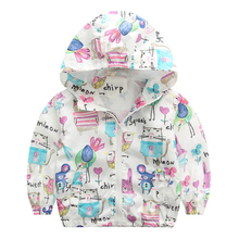 Cute Rabbit Graffiti Kids Jacket For Girls Trench Coats Spring Sunscreen Clothing Comfortable Girl Jackets Girls Outerwear Coats