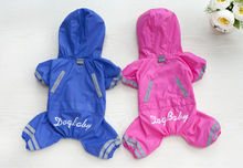 Y67 2017 New Pet Dog Raincoat Jacket Clothes Cute Puppy Dogs Cats Waterproof 4 legs Jumpsuit Rainwear Teddy dog Slicker