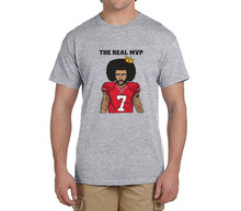 The Real MVP: Colin Kaepernick funny 100% cotton t shirts Mens 7 Fashion T-shirts for 49ers fans 0214-9(China)