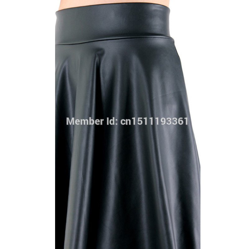 free shipping new high waist faux leather skater flare skirt casual mini skirt above knee solid color black skirt S/M/L/XL 14