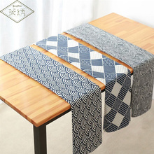 Dark Blue Cloud Geometric Pattern Printed Cotton Linen Tablecloth Table Cover