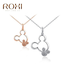 ROXI New Fashion Jewelry Rose Gold Color Statement Necklace Cute Mickey Necklace For Women Party Wedding bijoux mickey femme(China)