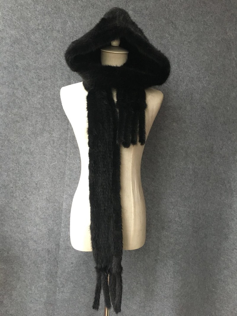 knitted mink fur scarf and hoody (4)