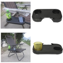 Fashion Chair Side Tray Portable Folding Camping Picnic Outdoor Beach Garden Chair Side Tray 2 Cup Glass Drink Beverage Holder(China)