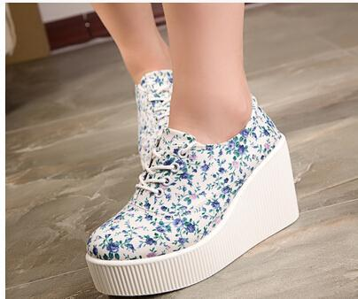 Thick bottom casual shoes women 2017 spring new floral cloth round toe female casual platform canvas shoes 2color 35-39size<br><br>Aliexpress