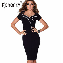 Kenancy Fall 2017 New 2 Colors Front Lace Splicing Hit Color Pencil Dress Women Knee Length Short Sleeve Office Vestidos(China)