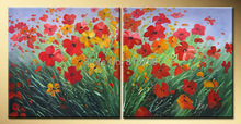 Hand-painted canvas painting high quality Modern artists painting flower pictures  DM-15040407