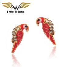 Fashion Charms Crystal Earrings Animal Red Bird studs  pink cute Earrings for Women bijoux Pendientes Brincos