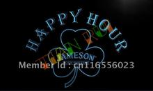 LA650- Jameson Whiskey Shamrock Happy Hour Bar  LED Neon Light Sign