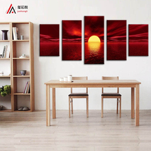 Ocean Sun 5 Pieces Canvas Print fabric home decoration paintings print on canvas Wall Art for Living Room Bedroom Decor pictures(China)