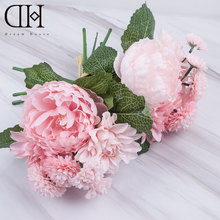 DH fake Silk Peony Rose Dahlia Wedding bridal Bouquet white flower Artificial peony Flowers gifts home flower Party decoration