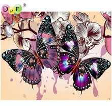 DPF Diamond Embroidery color butterfly Diamond Painting Cross Stitch Rhinestones Full Square Diamond Mosaic decor New Years gifs(China)