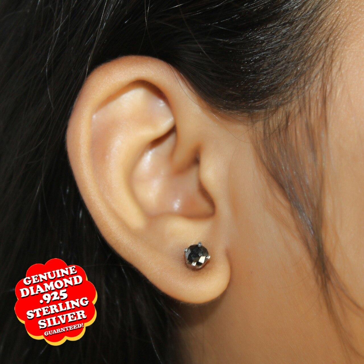 1.20 Ct Round Cut Black Genuine Moissanite Diamond Sterling Silver Stud Earrings