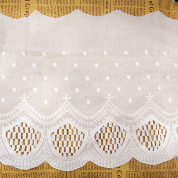 30cm wide-6yards/lot DIY Craft Off White Dot Embroidered Lace Trim Cotton Lace Cloth Lace Ribbon Z967(China (Mainland))