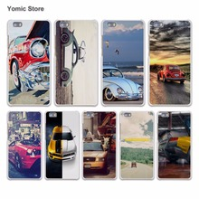 Retro summer volkswagen bus beach art hard White Case Cover for Huawei P7 P8 P9 Lite P9 Plus Mate 9 8 7 S Phone Case