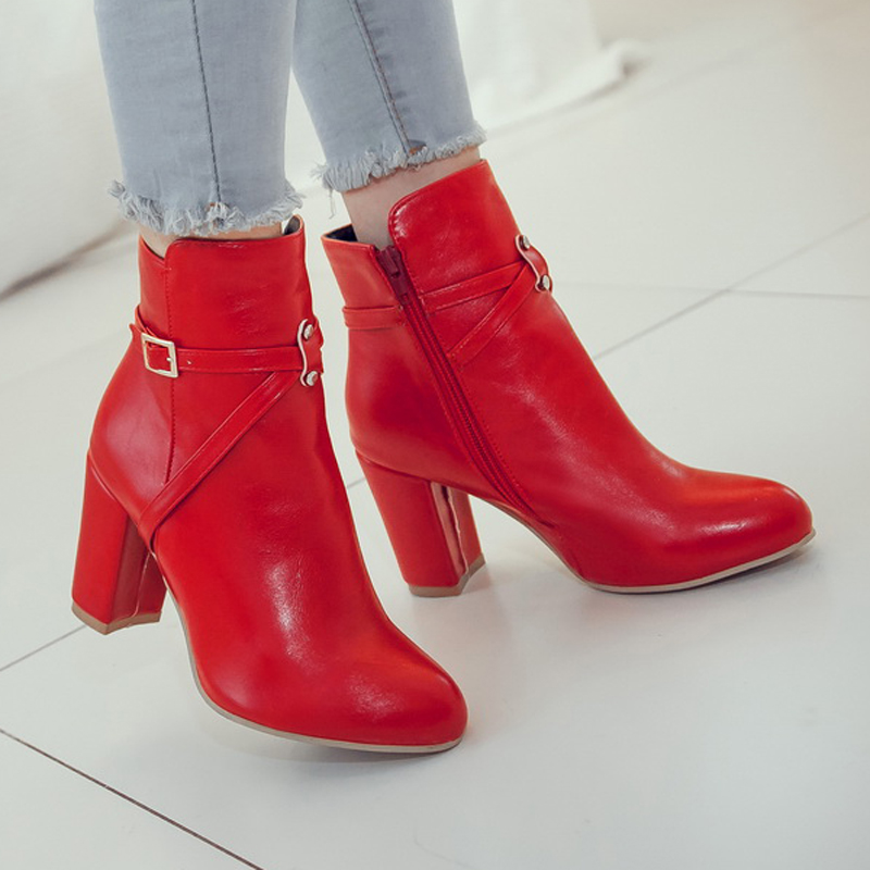 Chinese leisure style sexy pointed toe autumn ankle boots belt buckle zipper black red white high-heeled womens riding boots<br>