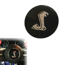 85mm Black Cobra Car Styling Steering Wheel Center Decorative Badge Sticker for Ford Mustang Shelby (0333)