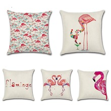 CAMMITEVER Pink Flamingo Cushion Cover Make Up Table Room Decoration Cotton Linen Throw Pillow Car Sofa Deco Pillow Case Cushion