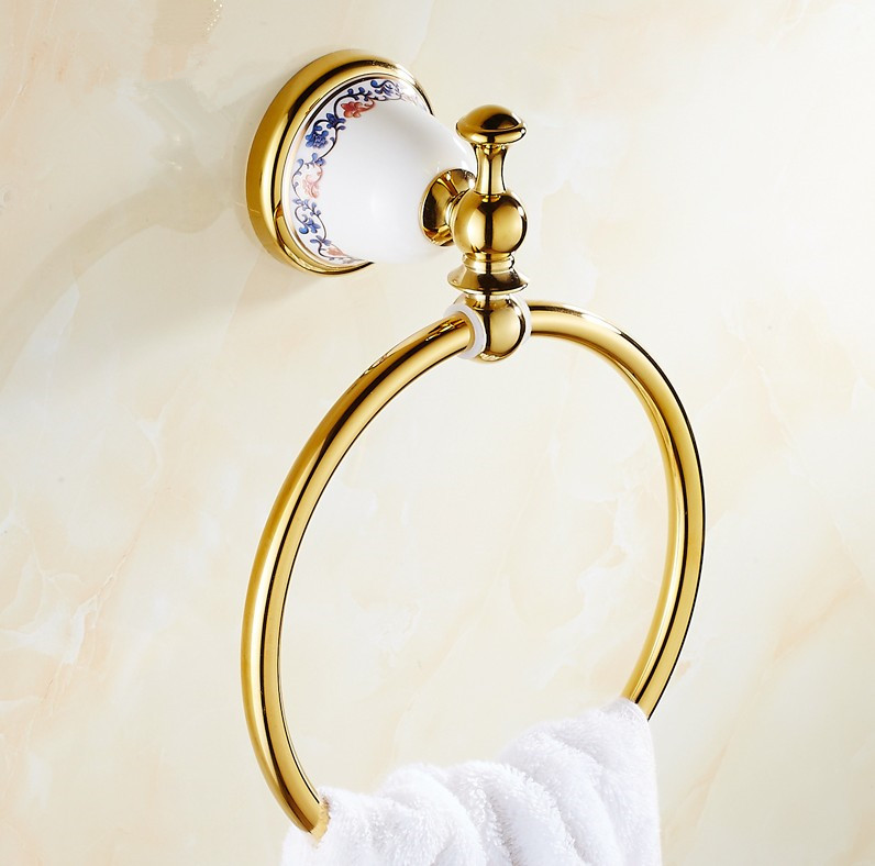 2016 NEW Bathroom Accessories Euro Luxurious Design Towel Ring /Fashion Brass Wall Mount Bath Towel Holder &amp;Towel Hanging<br>