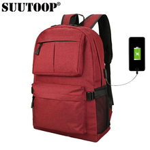 suutoop usb unisex design backpack book bags for school backpack casual rucksack daypack oxford canvas laptop fashion man bag