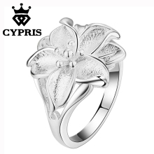 2017 NEW STYLE HOT silver fine finger flower ring chic fancy women lady gift xmas love wife proposal wedding exquisite