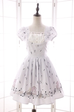Summer New Mori Girl Dress Sweet Musical Note Printed Short Puff Sleeve Dress for Women