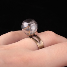 Cute Dandelion Flower Seed Resizable Mid Finger Rings for Women Summer Style Fine  Love Shining Ring Jewelry