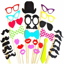 Photo Booth Props 34 Pcs/Set Photobooth For Wedding Birthday Party Mask Lips Photo Booth Props Glasses Mustache Lip On A Stick