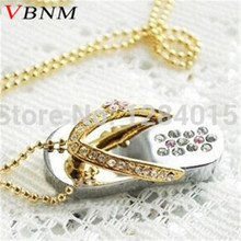 VBNM lovely metal Jewelry slipper crystal USB Flash Drive special gift fashion pendrive 4GB 8GB 16GB 32GB memory stick gift