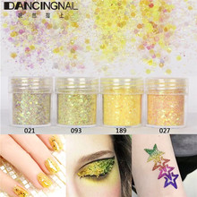 4pots 10ml/pot Light Yellow Nail Art Glitter Powder Mix Fine Powders 1mm Sequin For DIY Body Paint Eyeshadow Manicure Decoration