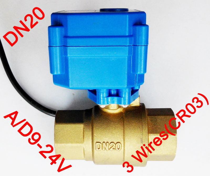 3/4 Brass electric control valve , AC/DC9-24V morotized valve 3 wire (CR03), DN20 Electric ball valve for Flow control<br><br>Aliexpress