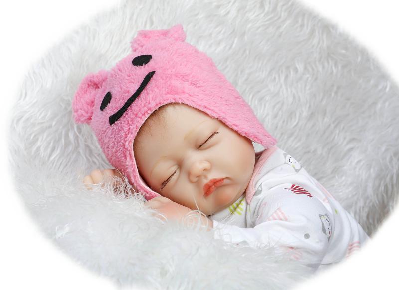 22 inch 55 cm baby reborn Silicone dolls, lifelike doll reborn Cute pink smile hat sleeping baby<br><br>Aliexpress