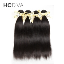 HCDIVA Malaysian Straight Hair 100% Human Hair Weave Bundles 8 to 28 Inch Natural Color Non Remy Hair Extensions(China)